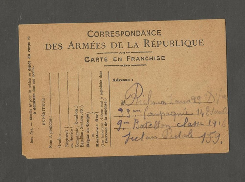 frança documento exercito da republica - carte en franchise