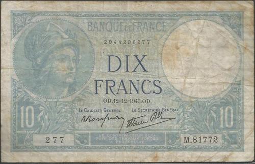 francia 10 francs 12 dic 1940 p84