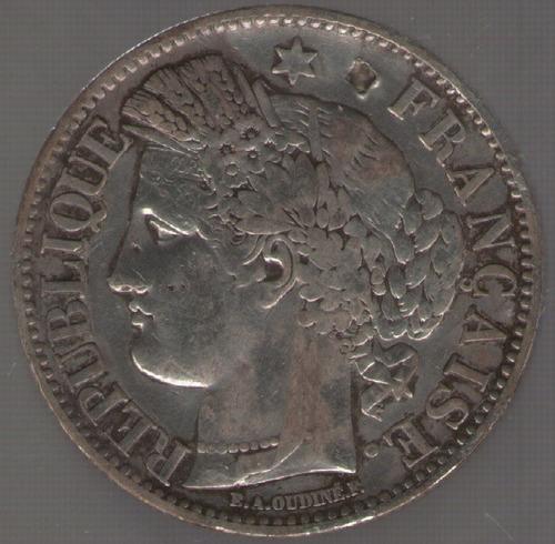 francia 2 francos 1849 a rara mb+ golpecito