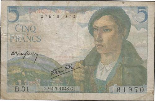 francia 5 francs 22 jul 1943 p98a