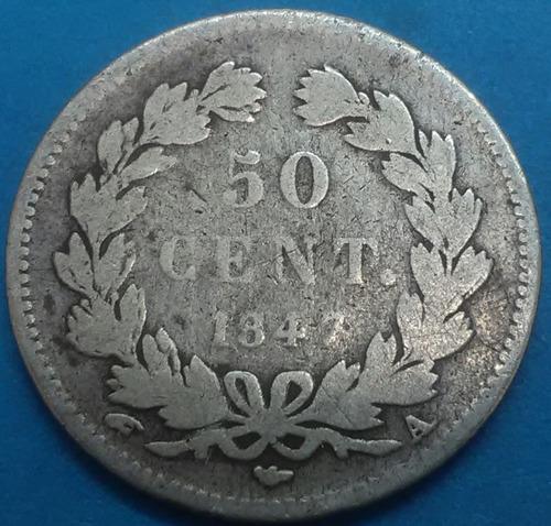 francia moneda 50 cent 1847 plata