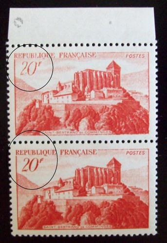 francia, pareja yv. 841a error impresión en valor mint l4730