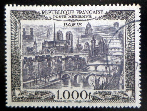 francia, sello aéreo yv. 29 paris 1000 fr 1950 usado l7645