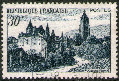 francia sello usado castillo bontemps en arbois año 1951