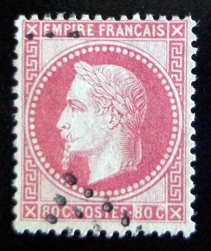 francia, sello yv. 32 napoleón lauré 80c. 1863 usado l8543