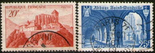 francia serie x 2 sellos usados abadías año 1949
