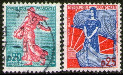 francia serie x 2 sellos usados sembradora = mariana 1960-61