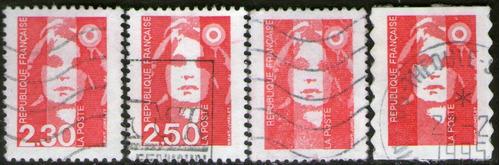 francia serie x 4 sellos usados mariana años 1989-94
