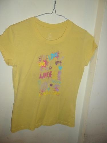 franela de algodón color amarillo talla 8 para niñas