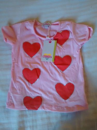franela de ninas de 9 a 12 m  rosada corazone