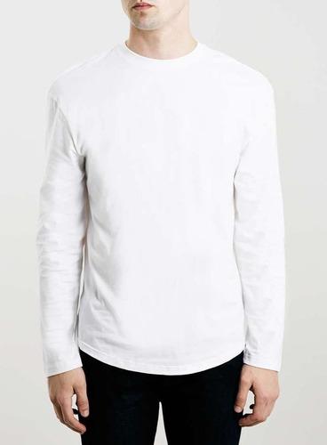 franela manga larga color blanco