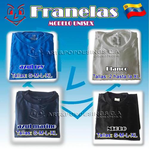 franela para estampar blanca, negra, azul marino, azul rey