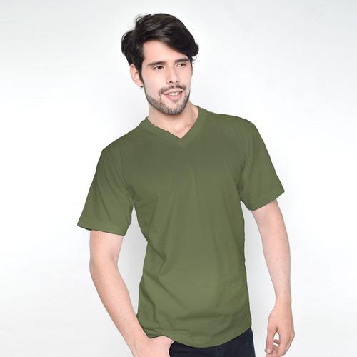 franelas caballeros ovejita cuello v verde oliva -  l