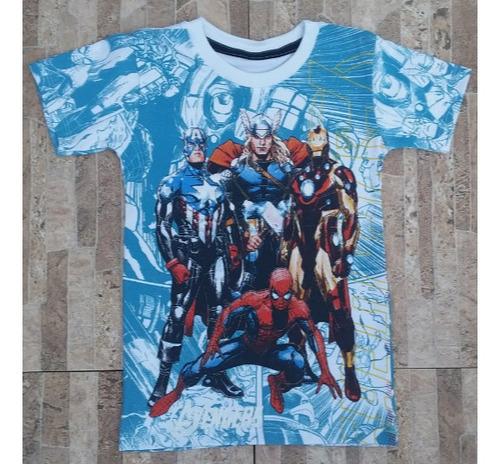 franelas de niños comics marvel superheroes  100% algodon