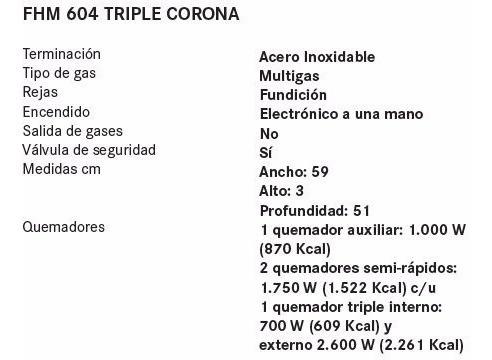 franke anafe fhm 604 triple corona 60cm- 4 hornallas