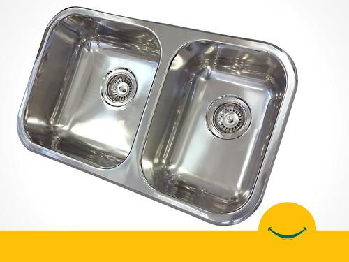 franke bacha pileta cocina doble 64x37x18 cm acero inox 304