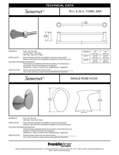 franklin latón 139.575 voltereta 24-inch baño hardware acc