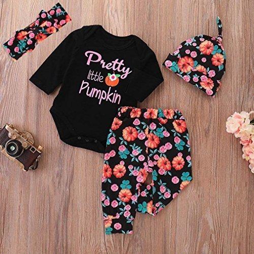Franterd 4Pcs Halloween Clothes Sets Pumpkin Long Pants Outfits Baby Romper Tops Cap Headband