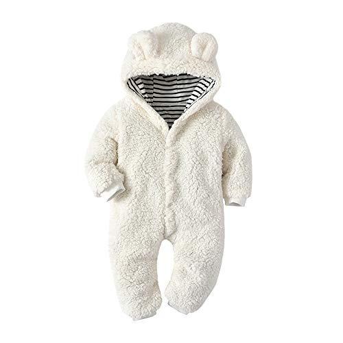 Franterd White Fleece Hooded Rompers Baby Little Girls Boys Cartoon Bear Ears One-Piece Harem Pants Overall Jumpsuits