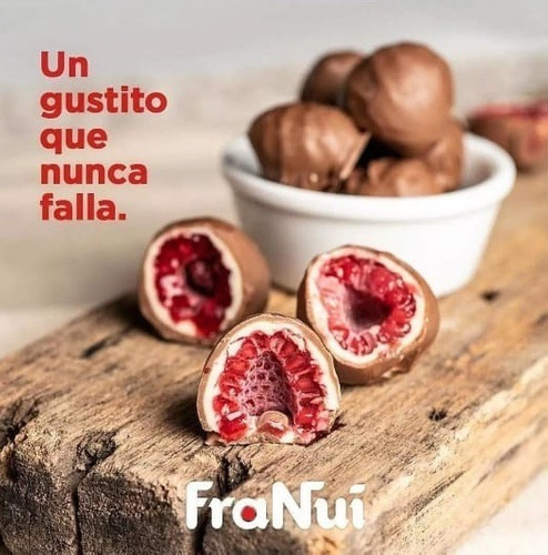 franui frambuesas cubiertas de chocolate con leche x150gr