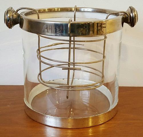 frapera champagnera cristal y metal plateado con soporte