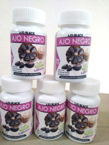 frasco ajo negro puro 75 capsulas de 500mgs. original
