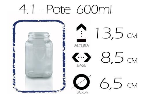 frasco bollón de vidrio  600ml.