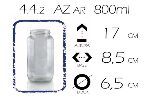 frasco bollón de vidrio az - 820ml (pack x 2 un.)