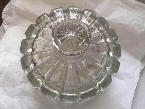frasco caramelera vidrio labrado, años 40. antigua.bello