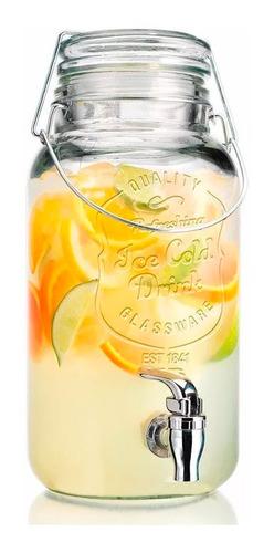 frasco con canilla dispenser para bebidas 3,6lts de vidrio
