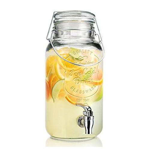 frasco con canilla dispenser para bebidas 4 lts vidrio tapa