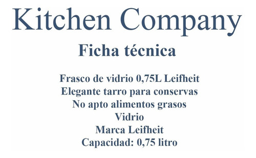 frasco de vidrio conservas 0,75l leifheit 36203 kitchen comp