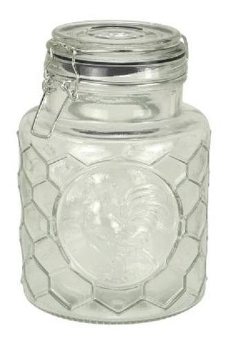 frasco de vidrio hermetico cierre clip diseño gallo 1,3 l