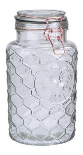frasco de vidrio hermetico cierre cobre diseño gallo 1,9l