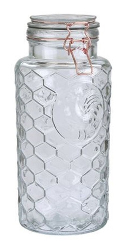 frasco de vidrio hermetico cierre cobre diseño gallo 2,4l