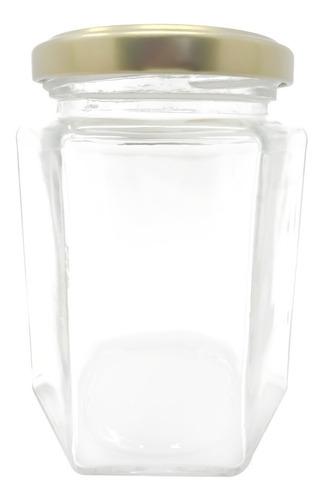 frasco de vidrio hexagonal 250 ml 48 pz recuerdos postres
