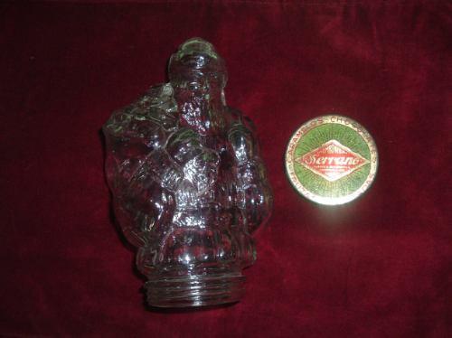 frasco de vidrio para caramelos  en forma de viejo pascuero