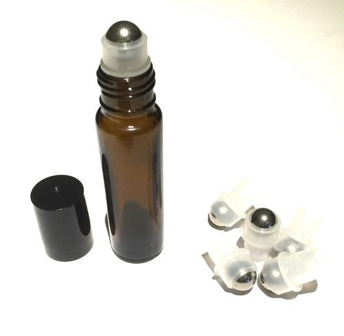frasco de vidrio roll on 10 ml ámbar bolita de metal