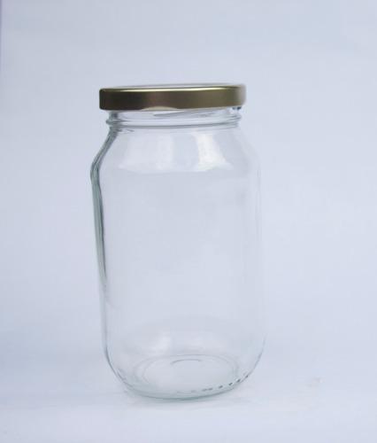 frasco envase de vidrio de 500cc con tapa metalica dorada