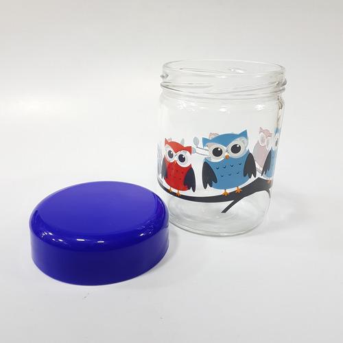 frasco estampado búhos multiusos vidrio