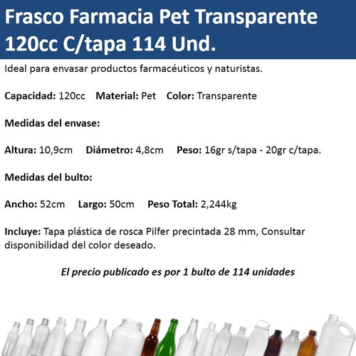 frasco farmacia pet transparente 120cc c/tapa (114 unidades)