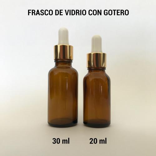 frasco gotero vidrio ambar 20 ml pipeta cristal dorada 10pz