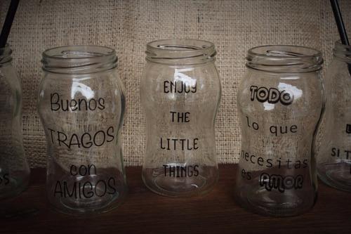 frasco vaso con vinilo