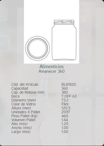 frasco vidrio amanecer 360 s/tapa oferta vaso trago rertiro