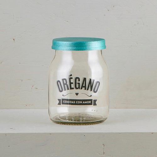 frasco vidrio especiero condimento de diseño reciclados (x4)