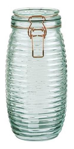 frasco vidrio hermetico clip cobre trama lineas horizontales