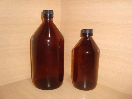 frasco vidrio jarabe 1 litro ambar laboratorio tapa precinto