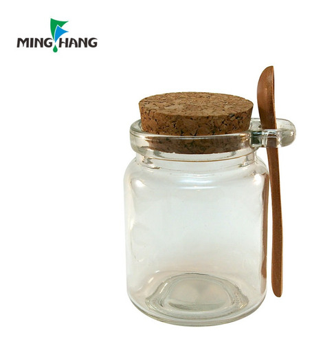 frasco vidrio tapa corcho 200ml + cuchara especiero etc