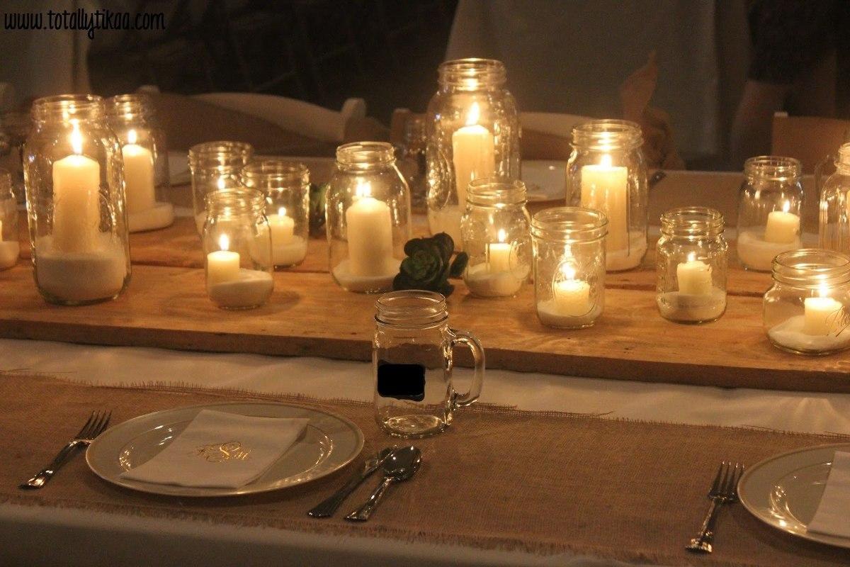 frascos con velas centro de mesa con velas x