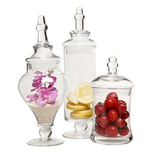 frascos de boticario de vidrio transparente, de diseño (set